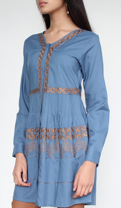 Darvi Embroidered Modest Buttondown Tunic - Blue
