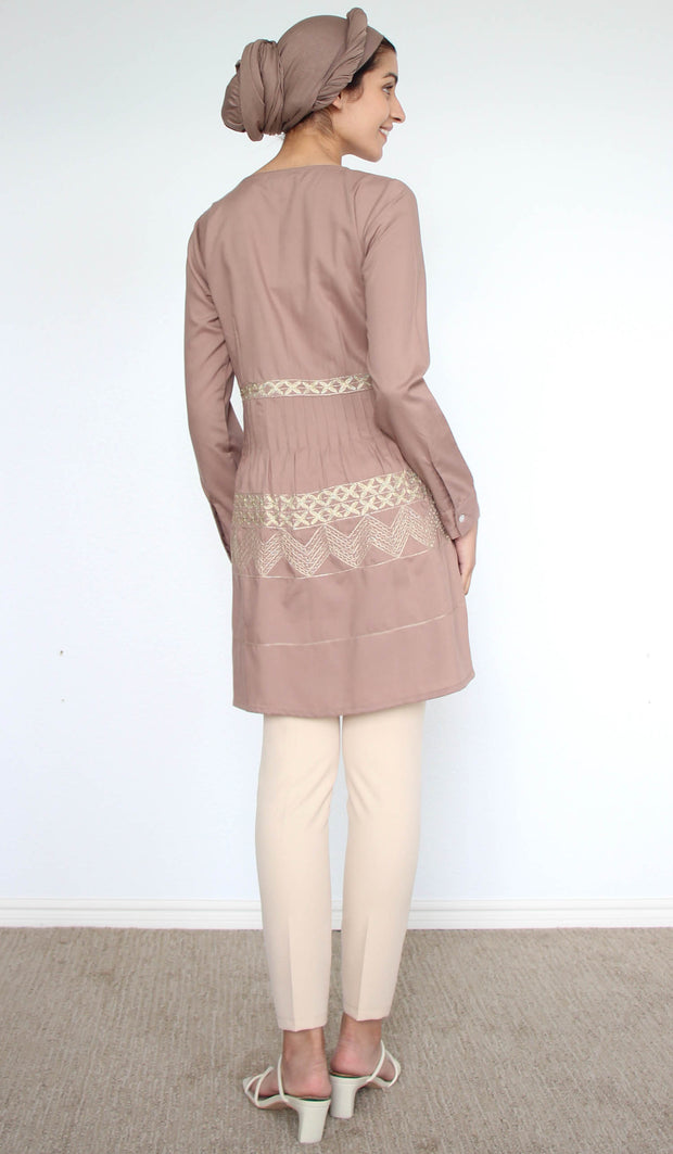 Darvi Embroidered Modest Buttondown Tunic - Mocha