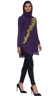 Darya Embroidered Long Modest Muslim Tunic - Dark Purple