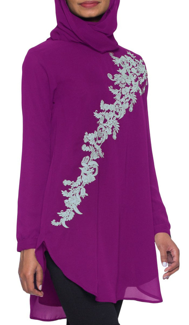 Darya Embroidered Long Modest Muslim Tunic - Purple