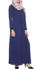 Dasha Elegant Chiffon Maxi Dress Abaya - Navy