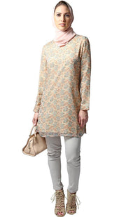 Dian Simple Long Print Chiffon Tunic - Peach
