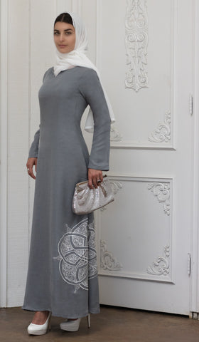 Merve Embroidered Formal Abaya Maxi Dress - Silver - ARTIZARA.COM