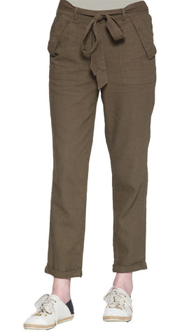 Elise Linen Blend Loose Tapered Pants - Olive - ARTIZARA.COM