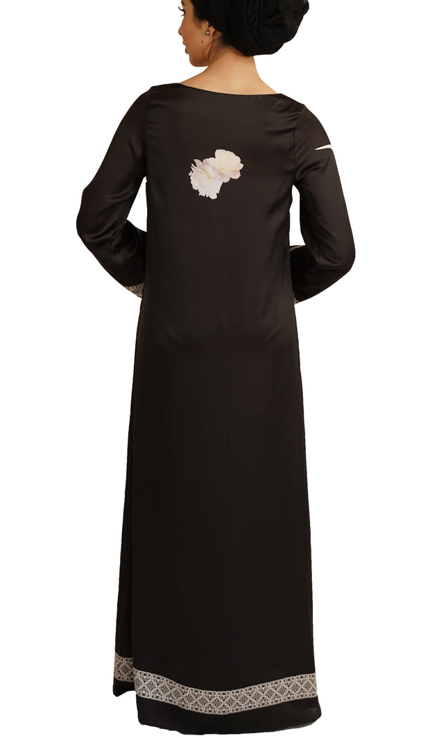 Ecstatic Formal Modest Maxi Dress Kaftan - Black