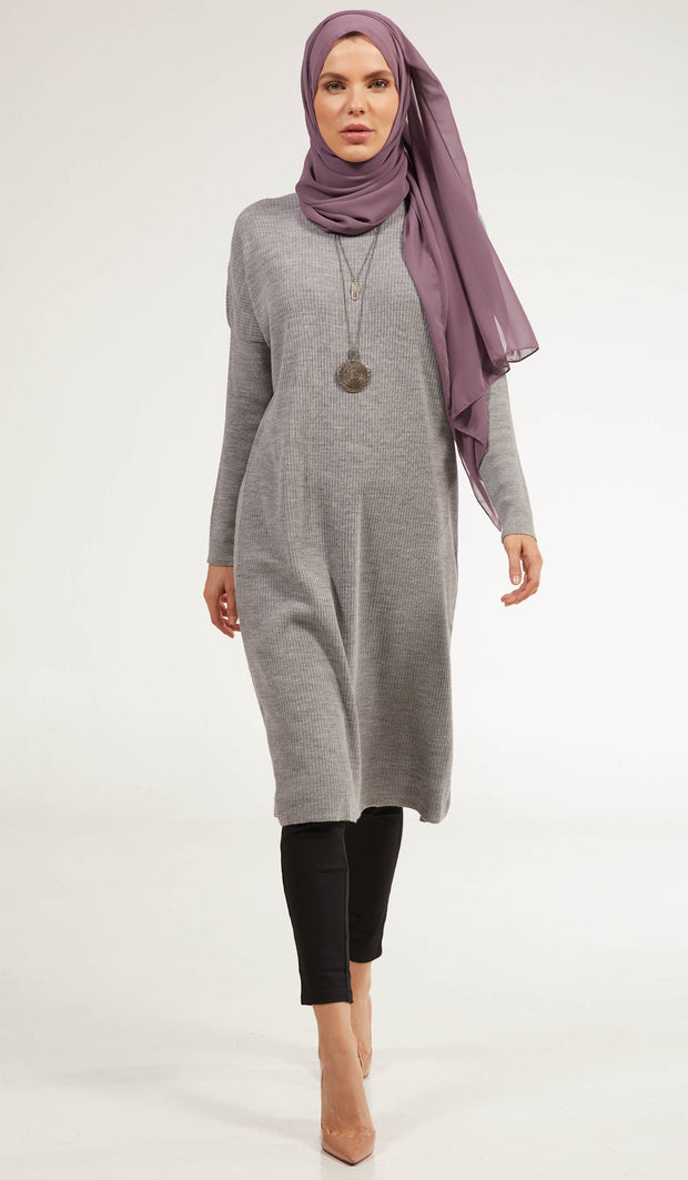Elan Rib Knit Loose Modest Midi Tunic - Heather Gray