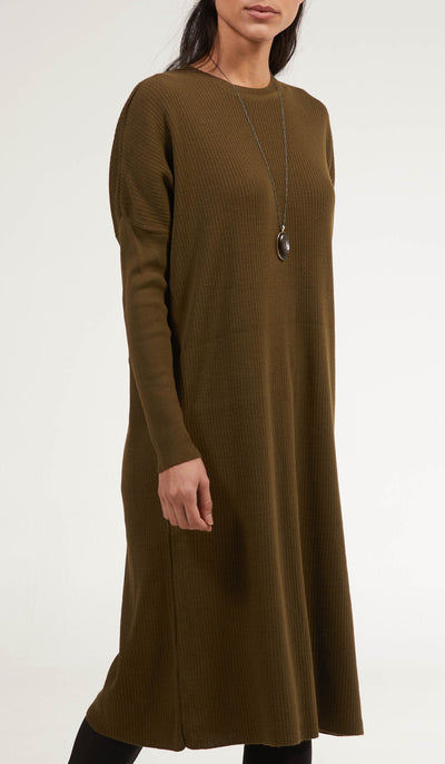 Elan Rib Knit Loose Modest Midi Tunic - Olive