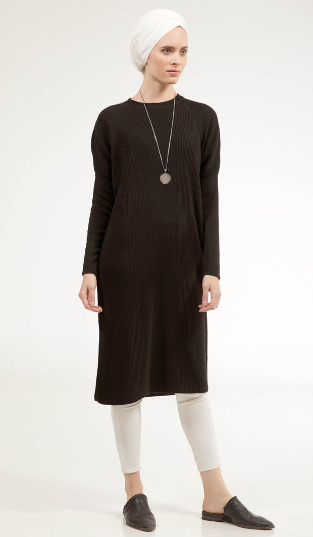 Elan Rib Knit Loose Modest Midi Tunic - Black - One Size fits S-M-L