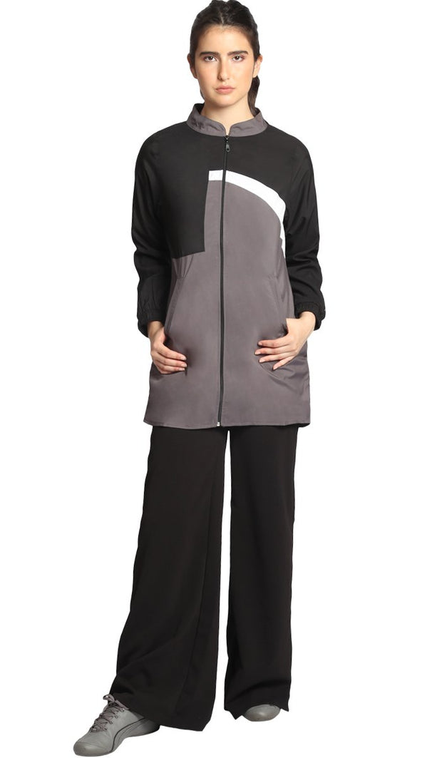 Elian Long Lightweight Modest Sport Jacket - Grey/Black