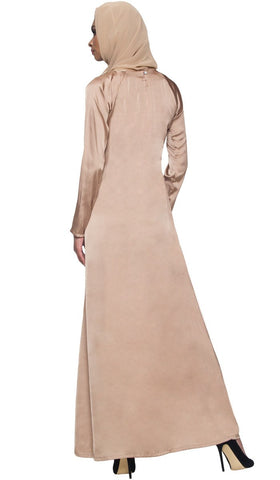 Elsa Long Sleeve Formal Modest Muslim Evening Dress - Mocha Beige - ARTIZARA.COM