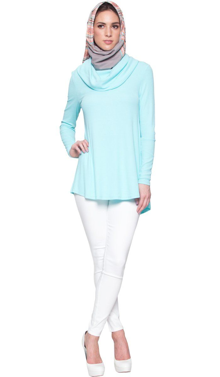 Ema Long Loose Modest Cowl Neck Top - Aqua Blue