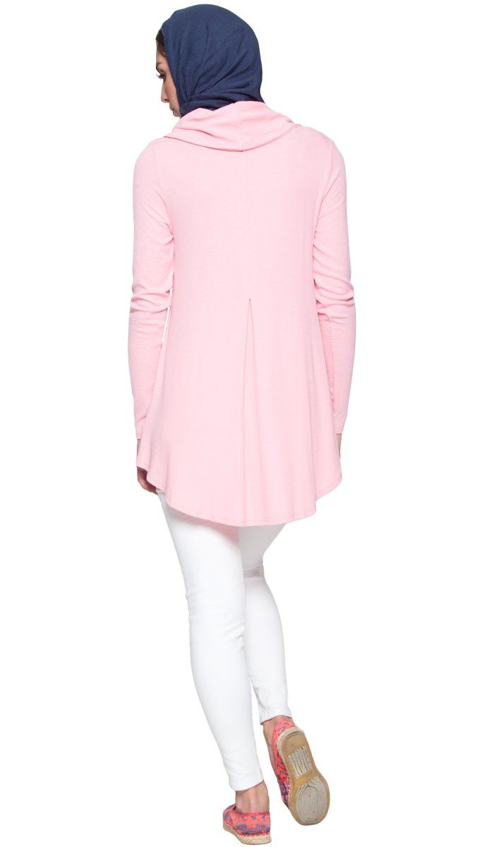 Ema Long Loose Modest Cowl Neck Top - Pink