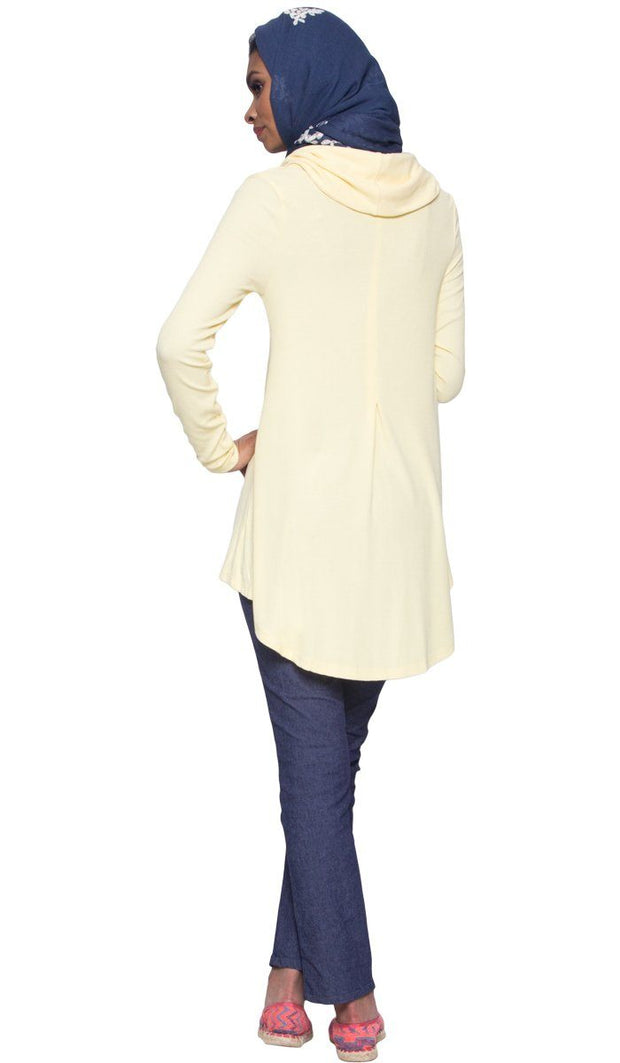 Ema Long Loose Modest Cowl Neck Top - Yellow