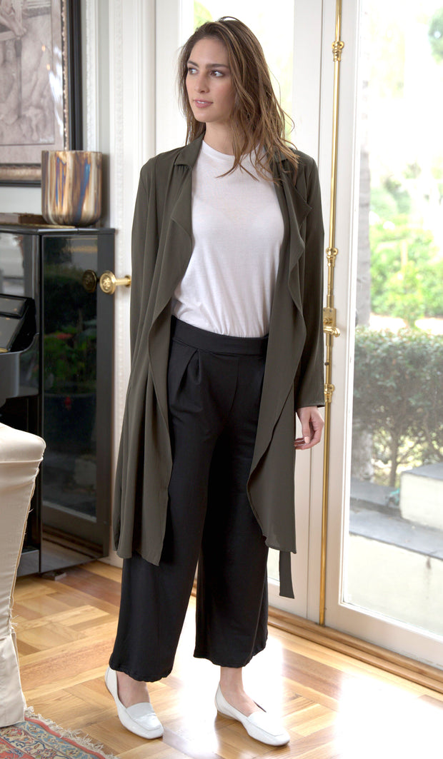 Erin Light and Long Flowy Trench Duster Jacket -Olive