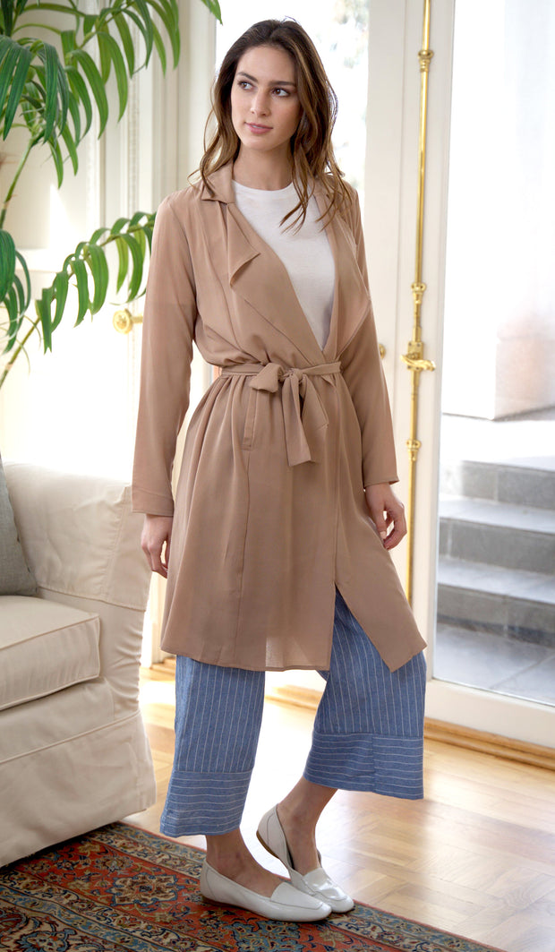Erin Light and Long Flowy Trench Duster Jacket -Tan