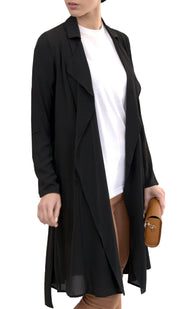 Erin Long Flowy Trench Duster Jacket -Black