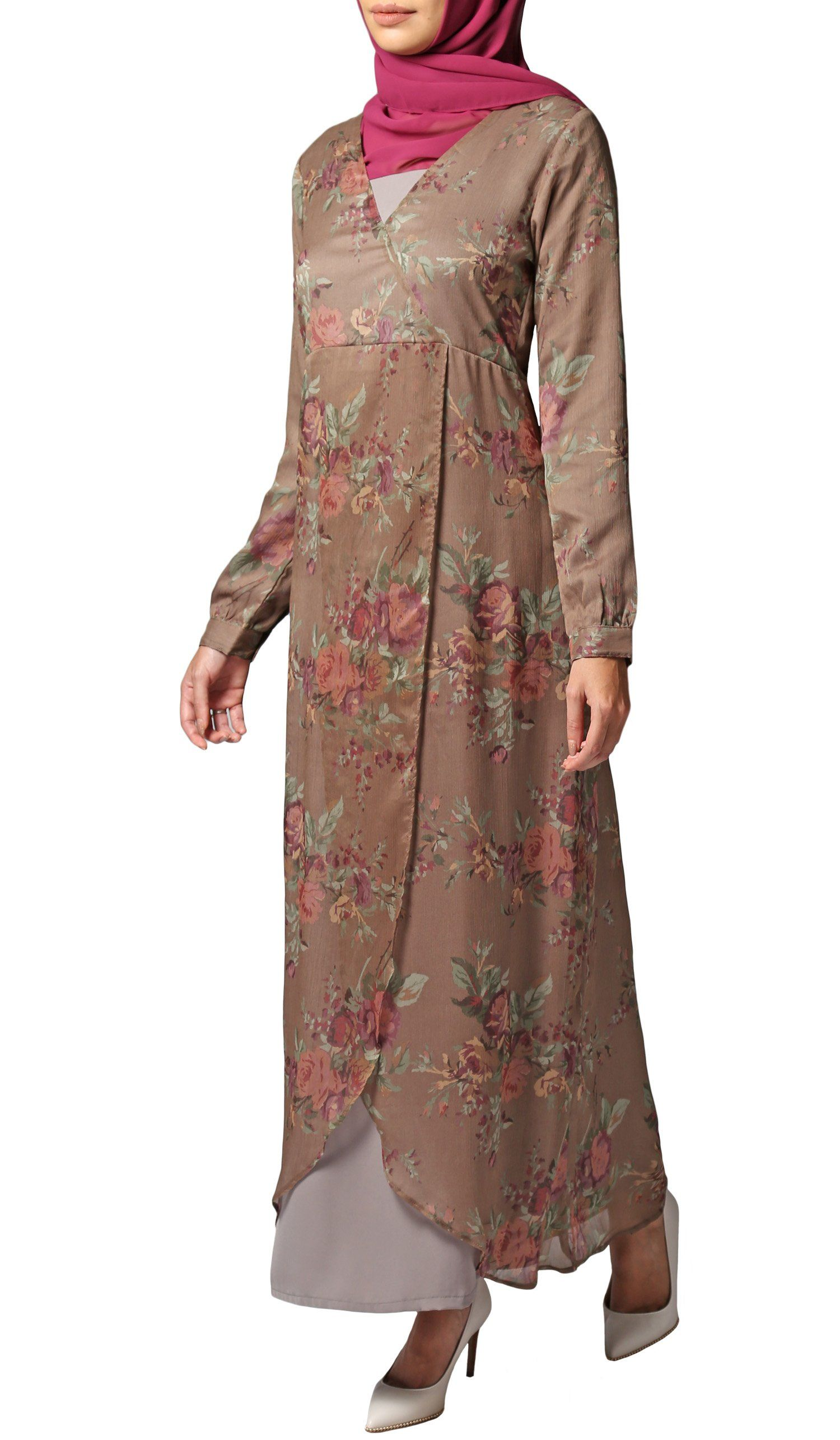 b026572aafd Brown Pink Chiffon Modest Islamic Maxi Dress