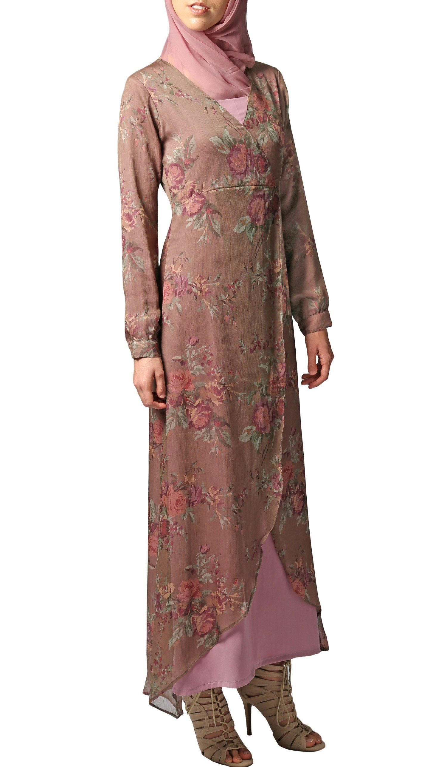 32ebd6a70b7 Brown Pink Floral Chiffon Modest Islamic Maxi Dress