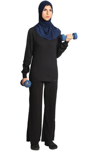 One Piece Stretch Sports Hijab - Navy
