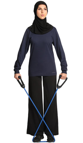 Essential Long Fine Cotton Modest T Shirt - Navy