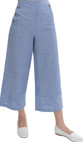 Essential Comfortable Wide Leg Pinstripe Pants - Blue