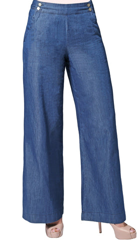 Essential Tencel Blend Wide Leg Pants - Denim Blue