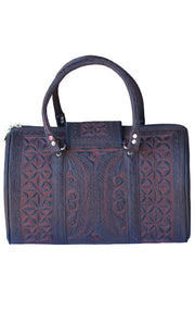 Exquisite Embroidered Vegan Handbag - Brown/ Black