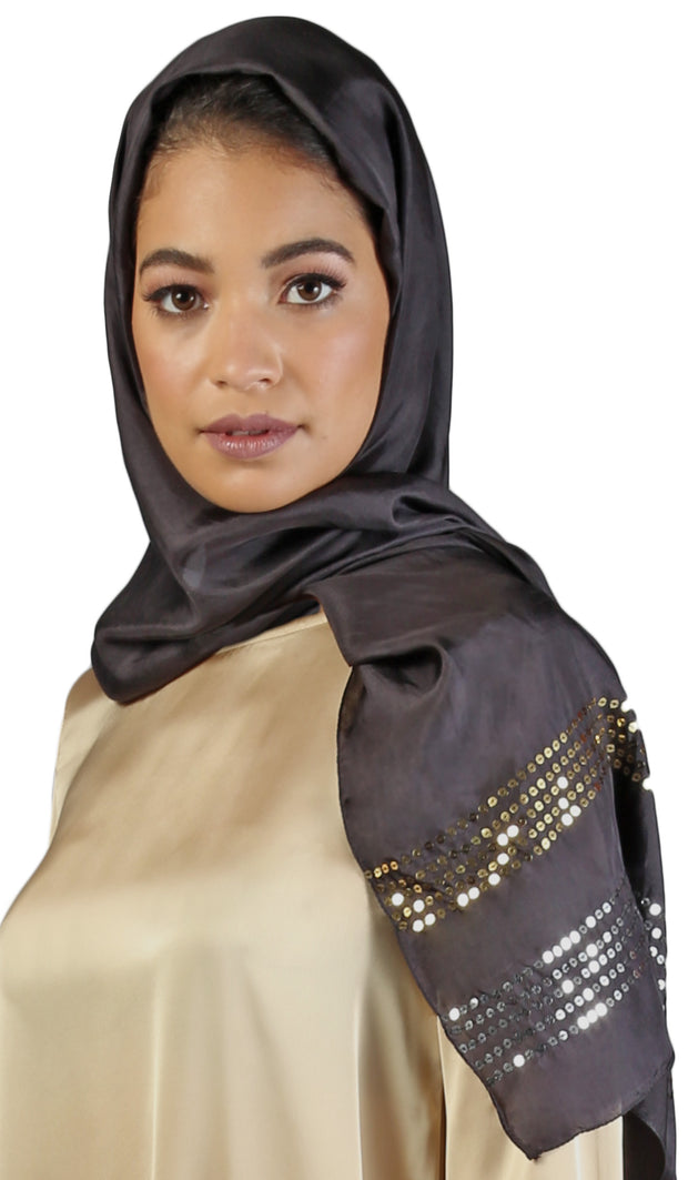 Formal Silk Wrap Hijab with Sequins - Black