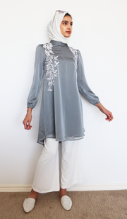 Faiza Embroidered Long Modest Midi Dress - Silver
