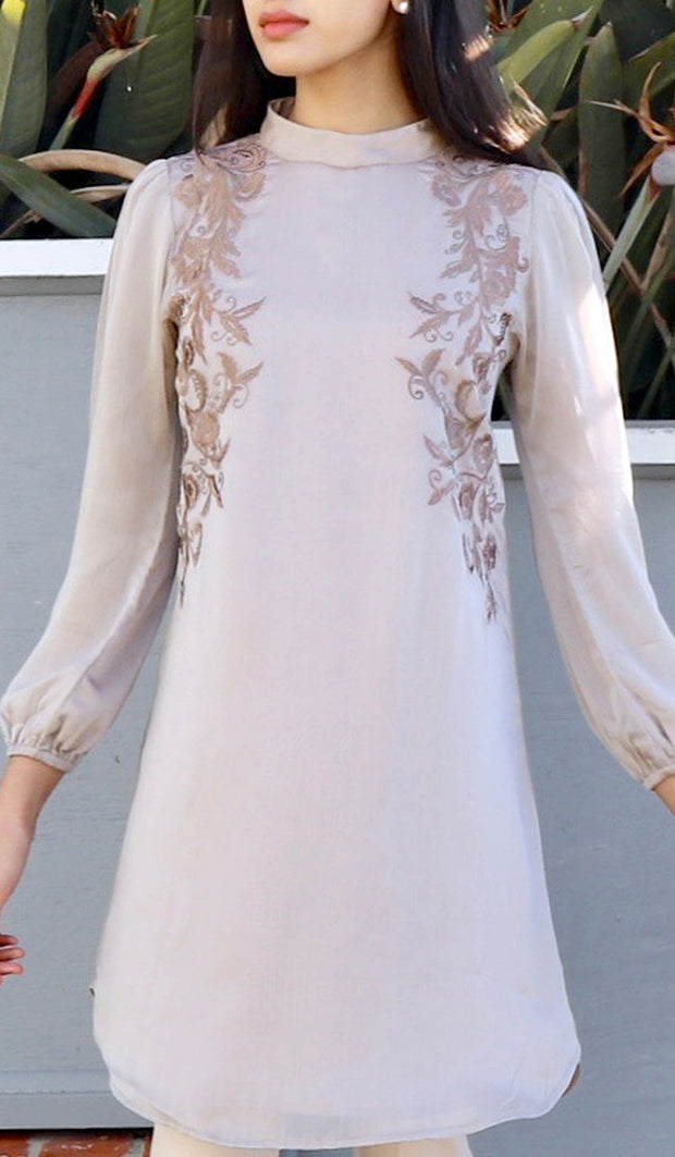 Faiza Embroidered Long Modest Midi Dress - Mocha