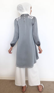 Faiza Embroidered Long Modest Midi Dress - Silver Smoke - PREORDER