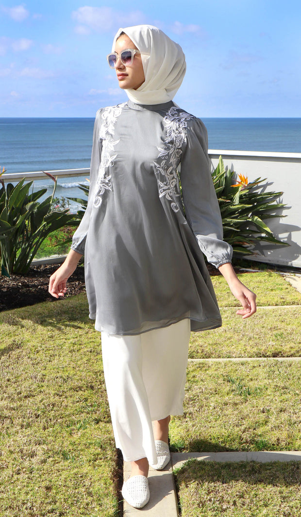 Faiza Embroidered Long Modest Midi Dress - Silver Smoke