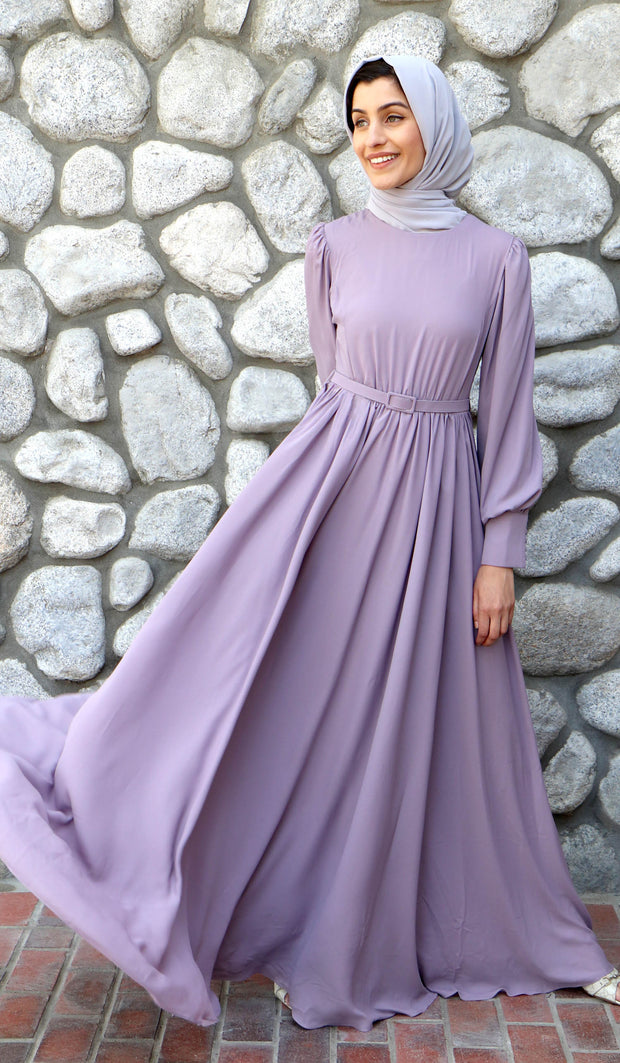 Farah Modest Abaya Maxi Dress - Lavender