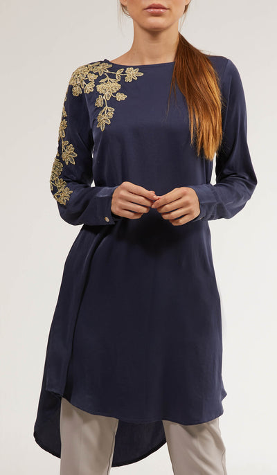 Farhi Embroidered Long Modest Tunic - Blue Nile