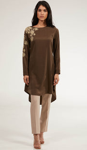 Farhi Embroidered Long Modest Tunic - Bronze