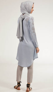 Farhi Embroidered Long Modest Tunic - Powder Blue