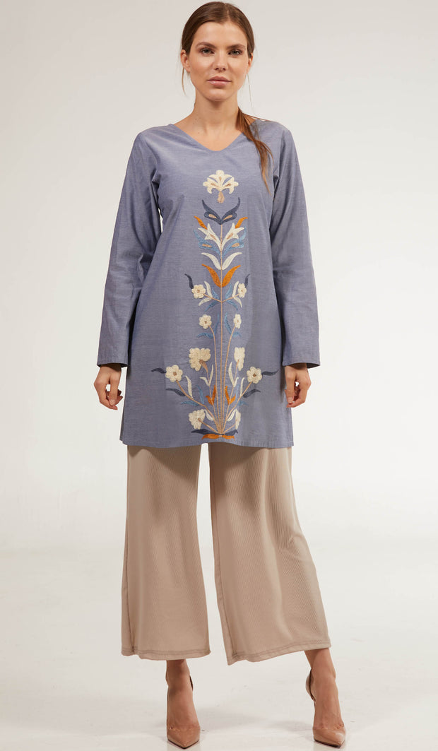 Faroze Embroidered Long Modest Tunic - Denim Blue