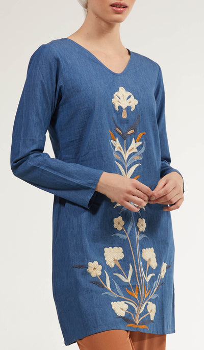 Faroze Embroidered Long Modest Tunic - Indigo Blue