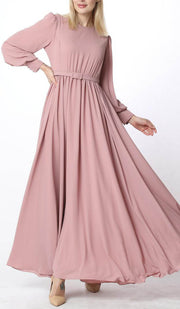 Farah Modest Abaya Maxi Dress - Blush