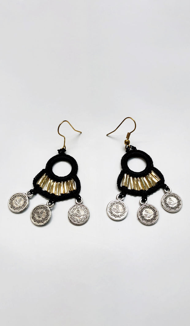 Fatima Handmade Lace Chandelier Earrings - Black/ Gold