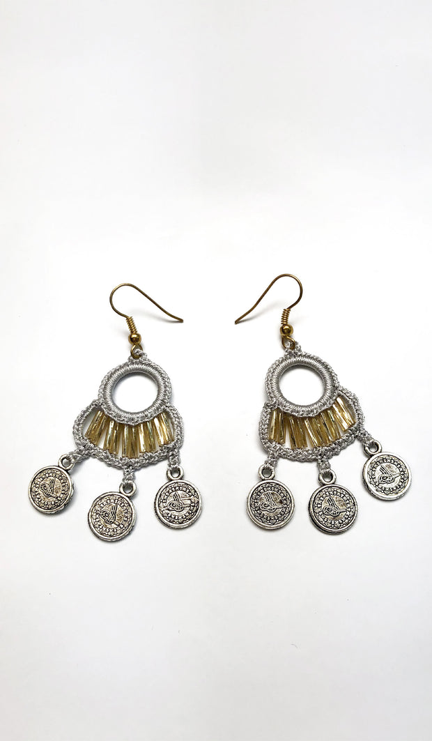 Fatima Handmade Lace Chandelier Earrings - White/ Gold
