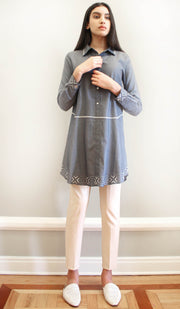 Fatuma Embroidered Cotton Modest Buttondown Tunic - Indigo