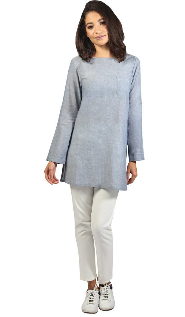 Fifi Easy Cotton Chambray Tunic - Blue