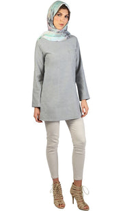 Fifi Easy Cotton Chambray Tunic - Gray