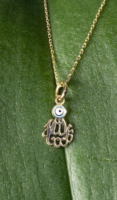 Fine 14kt Gold MashAllah (Praise) with Evil Eye Necklace