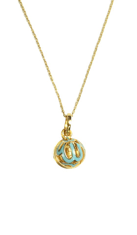Fine 14kt Gold Allah MashAllah and Ayat al Kursi Locket Necklace-Blue