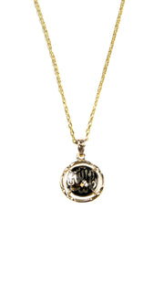 Fine 14kt Gold Round MashAllah (Praise) Necklace-Black