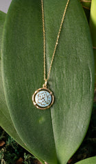 Fine 14kt Gold Round MashAllah (Praise) Necklace-Blue