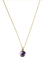 Fine 14kt Gold Round Reversible MashAllah (Praise) Evil Eye Necklace-Blue