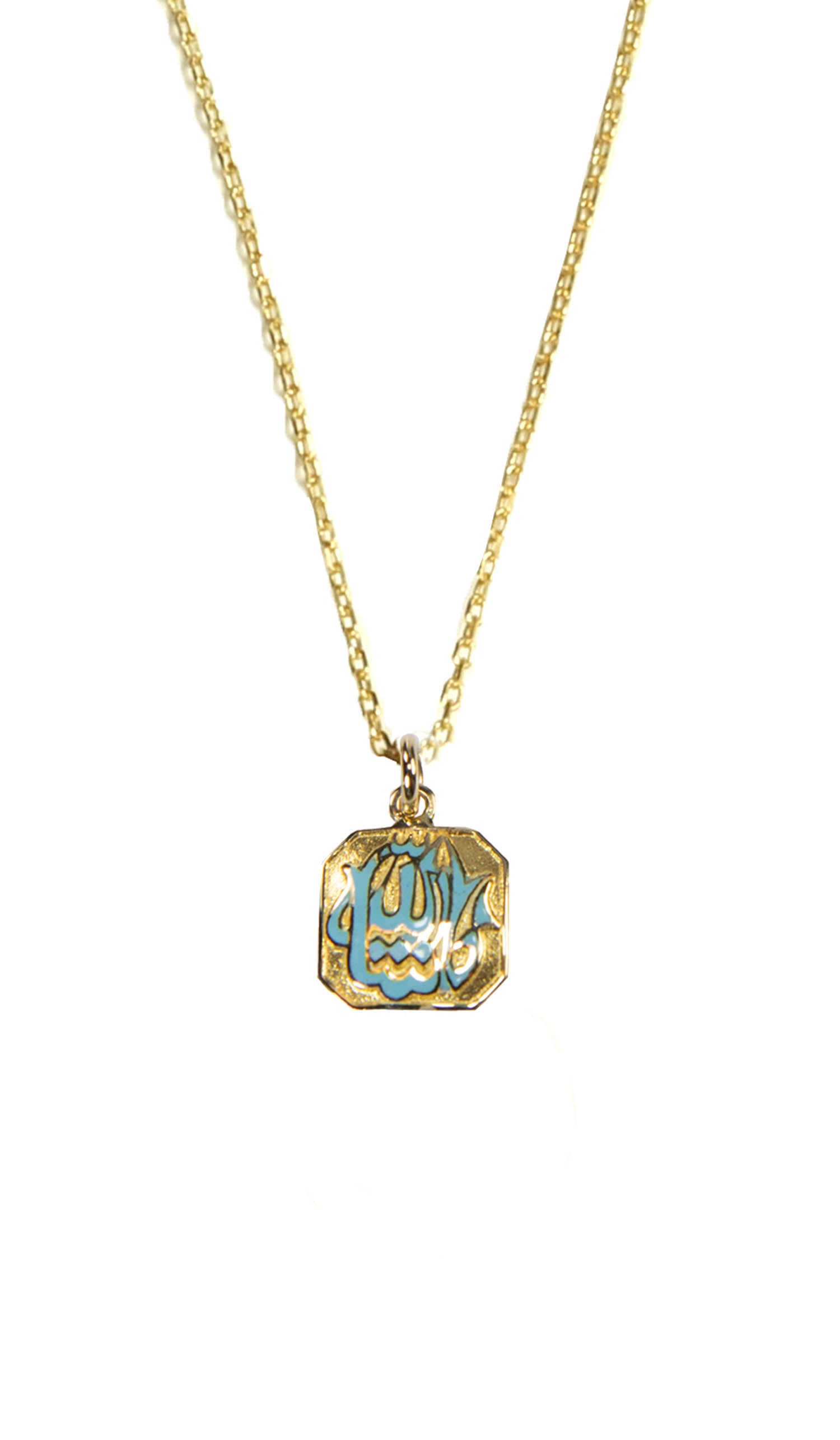 Fine 14kt Gold Square MashAllah (Praise) Necklace-Blue